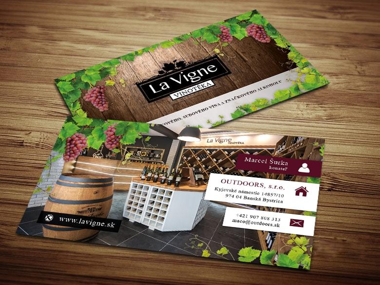 Grafický návrh vizitky La Vigne vinotéky