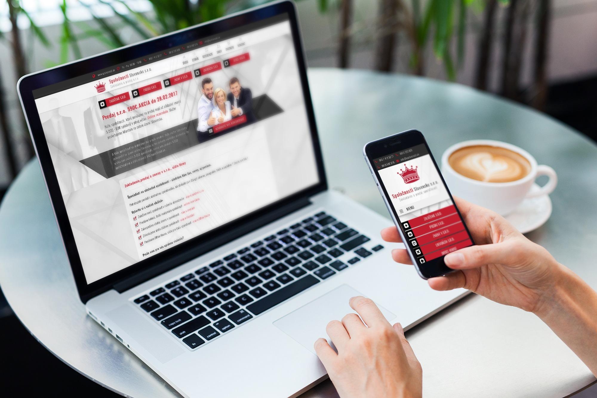 Responzívny dizajn web stránky spolocnosti.sk na mobilnom telefóne