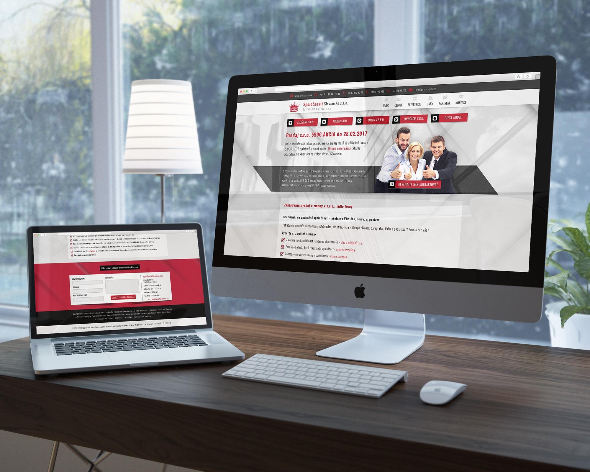 Náhľady web stránky spolocnosti.sk na notebooku a monitore