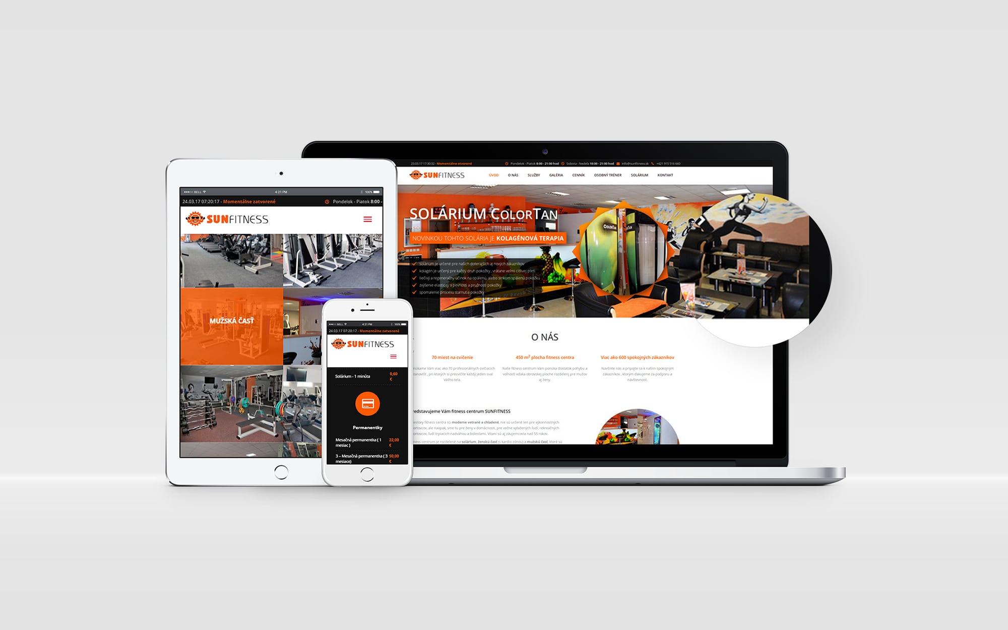 Náhľady responzívnej web stránky na notebooku, tablete a mobilnom telefóne