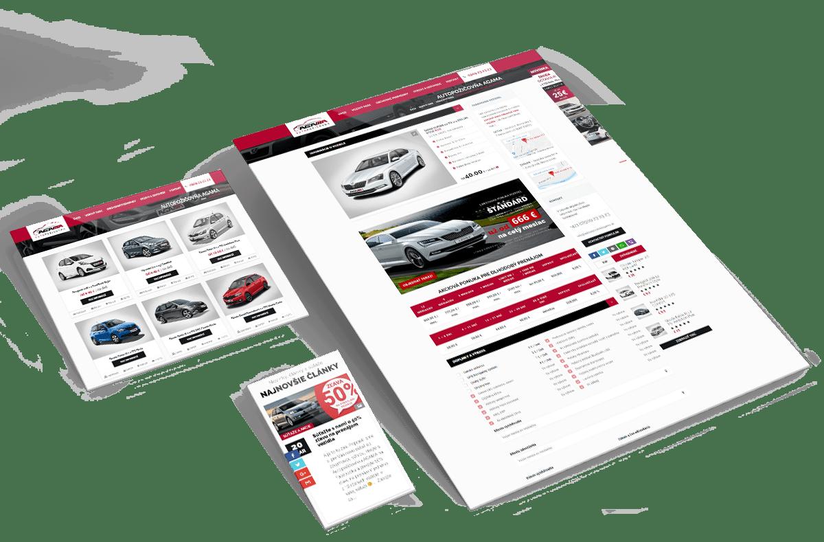 Grafický návrh web stránky autopozicovnaagama.sk v rozlíšeniach pre tablety, mobily a desktopy