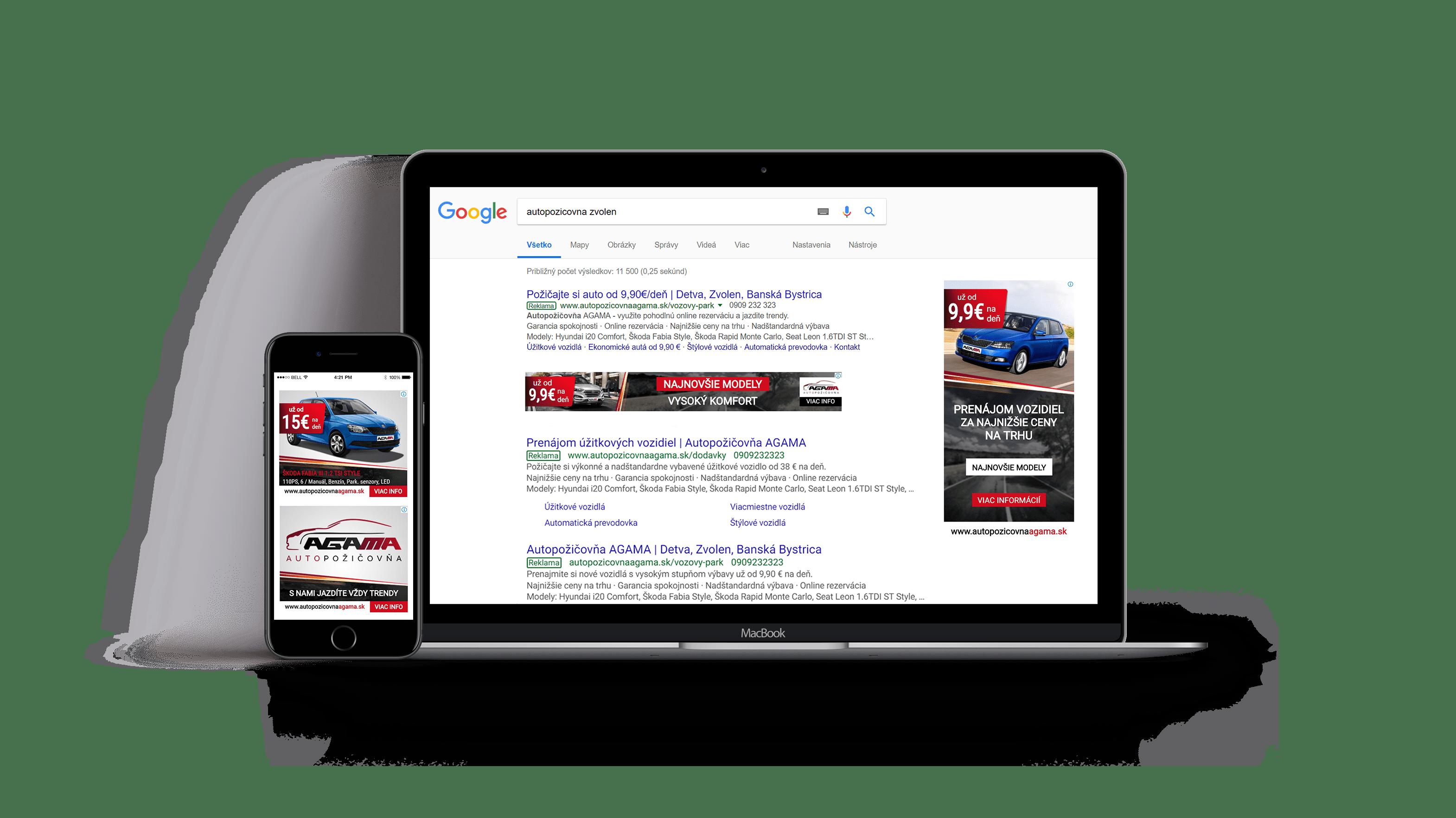 Vzhľad web stránky autopozicovnaagama.sk na notebooku a mobilnom telefóne