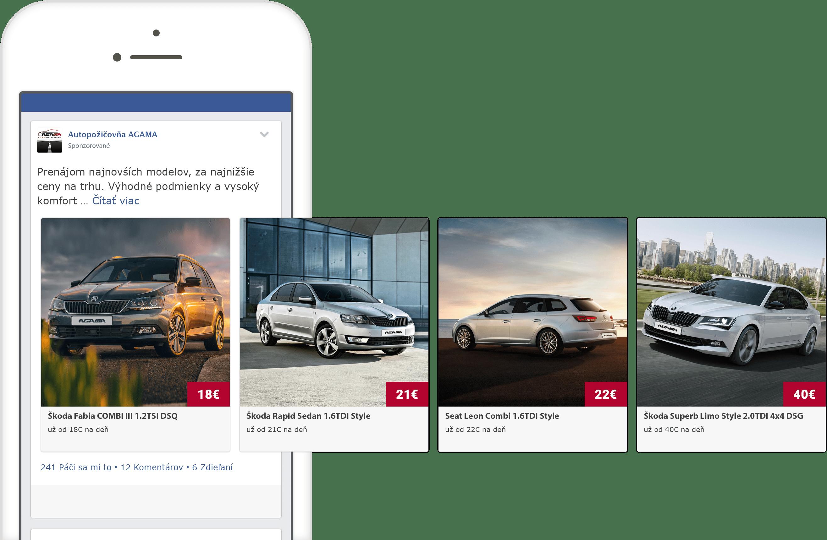 Facebook reklama autopožičovne AGAMA na mobilnom telefóne