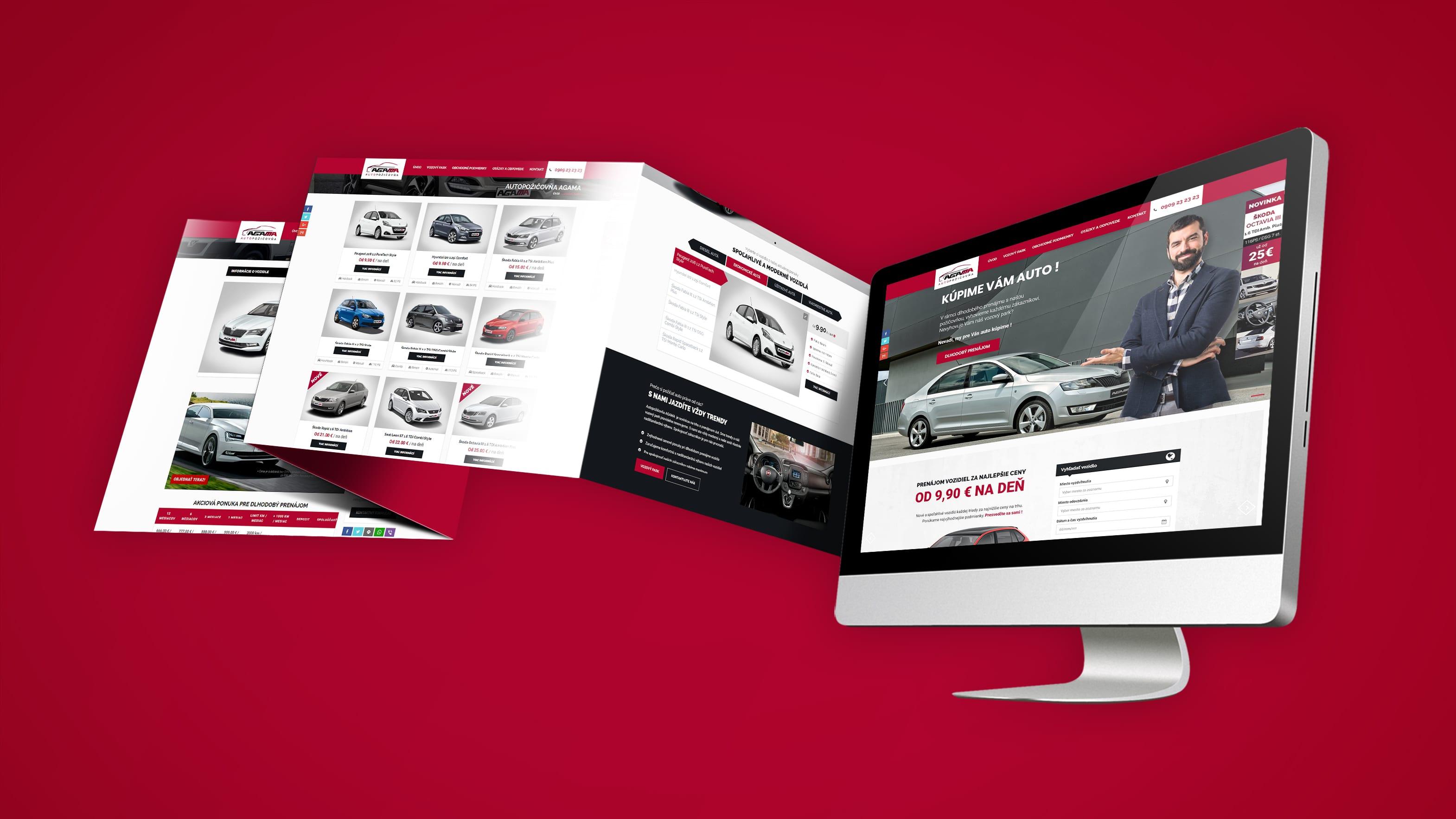Náhľad pod stránok web stránky autopožičovne AGAMA na desktope
