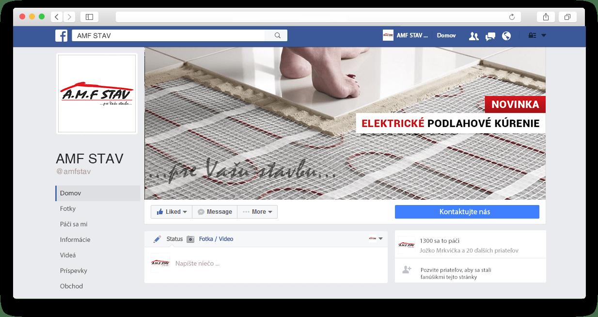 Facebook fanpage spoločnosti AMF Stav