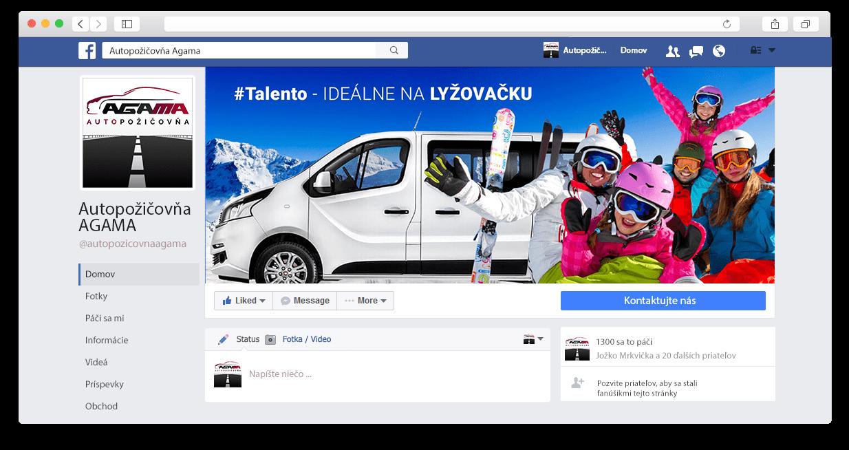 Facebook stránka spoločnosti Autopožičovňa AGAMA