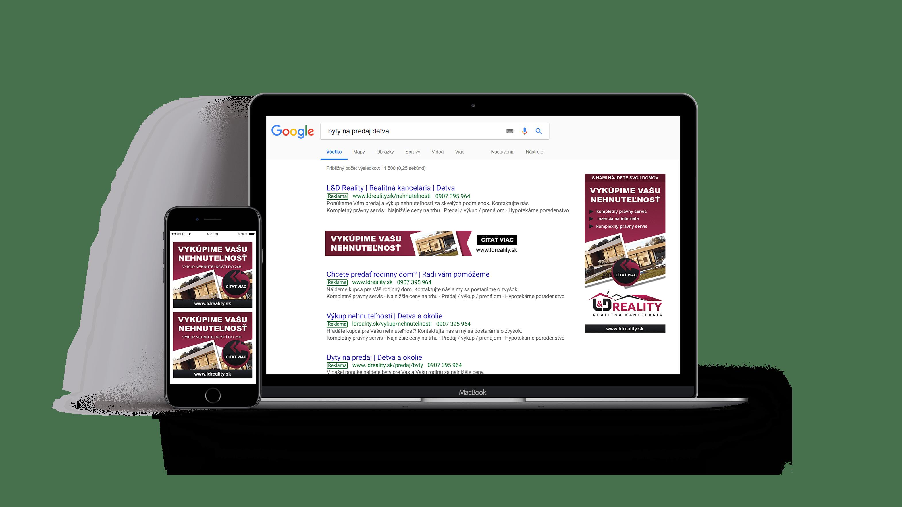 Google reklama spoločnosti LD Reality na notebooku a mobile