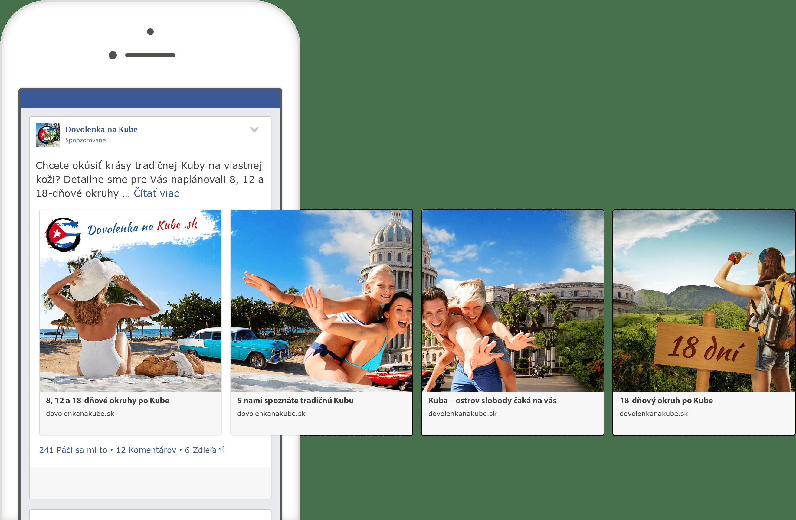 Grafický náhľad reklamy na facebooku pre fanpage Dovolenka na Kube