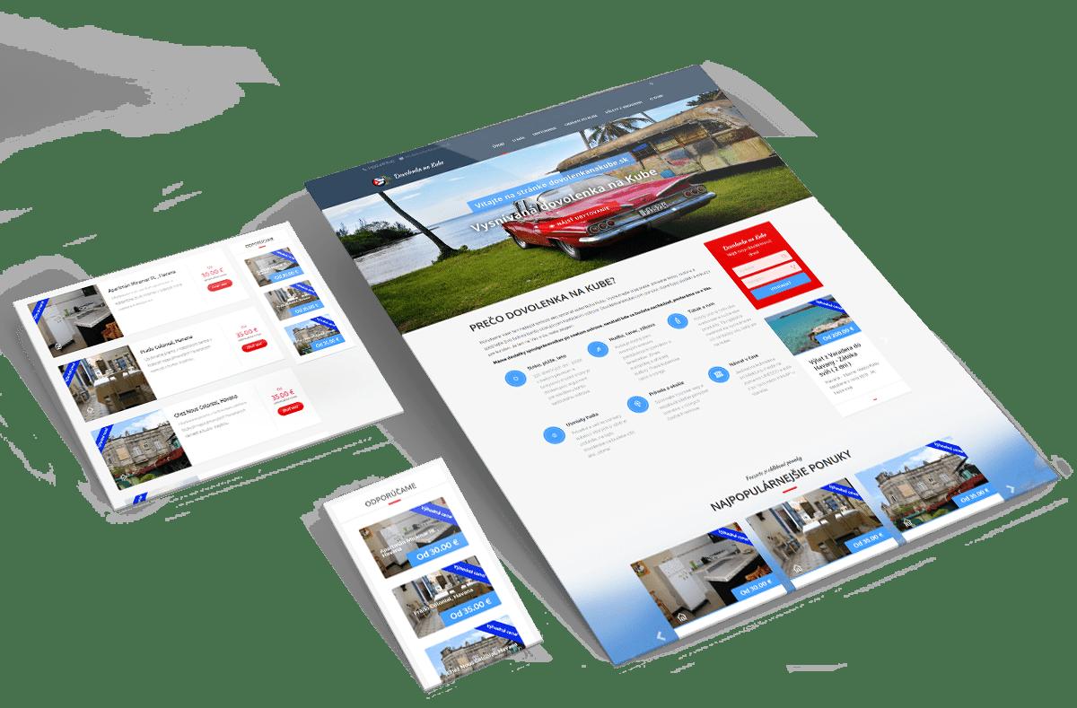 Náhľady web stránky dovolenkanakube.sk v rôznych rozlíšeniach