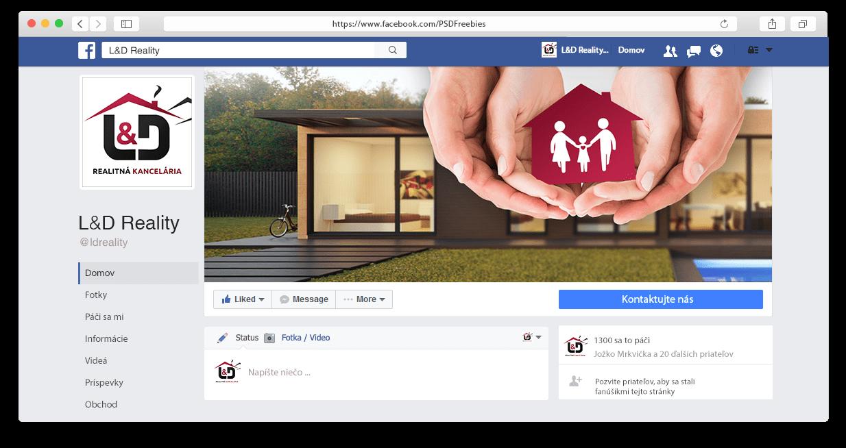 Facebook fanpage spoločnosti LD Reality