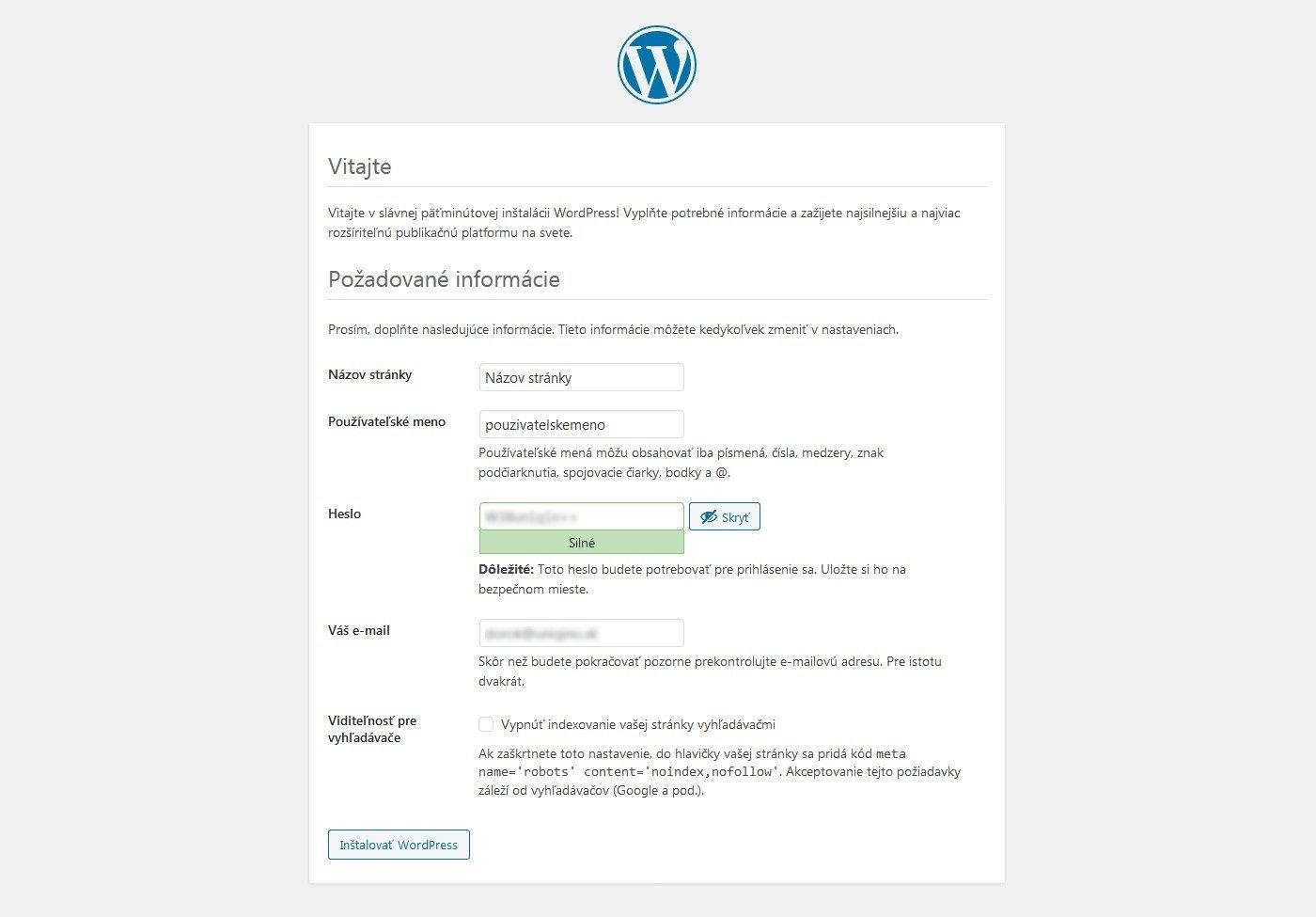Názov WordPress stránky a prihlasovacie údaje použivateľa