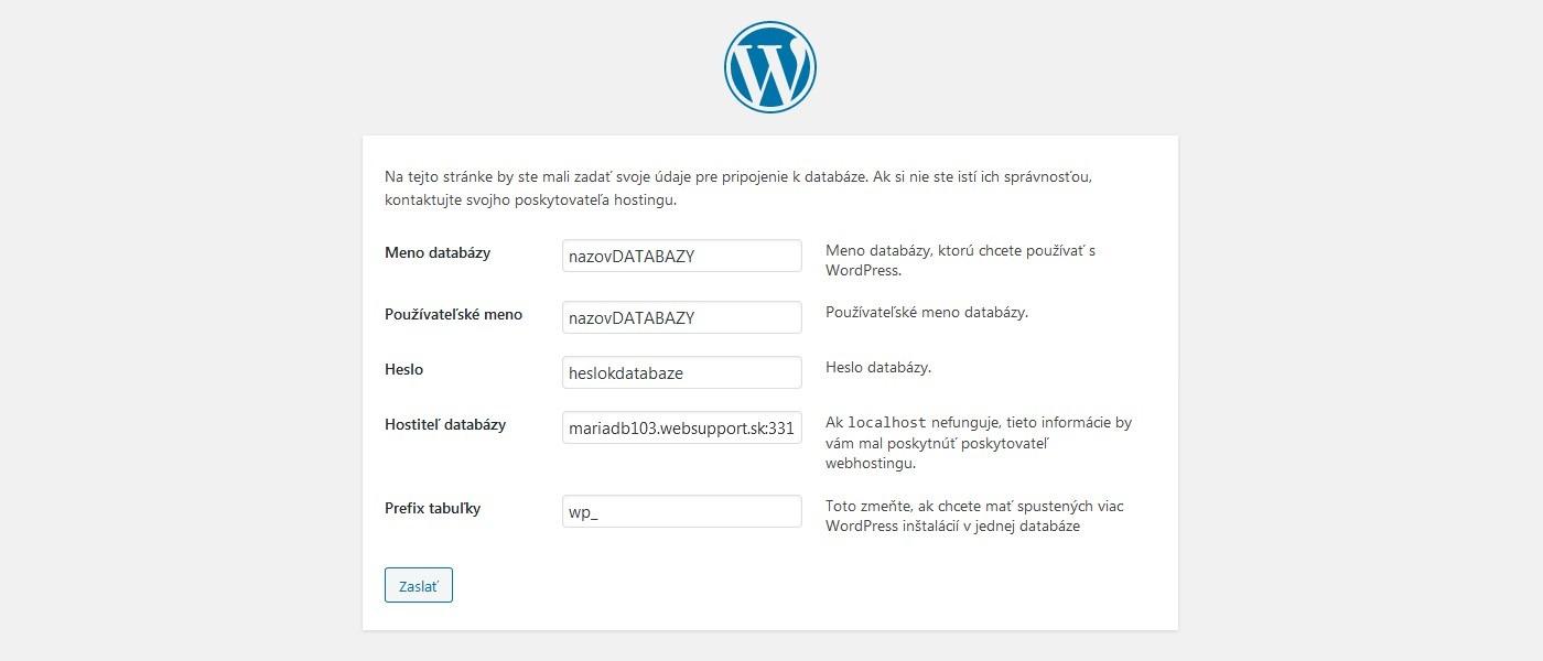 Pripojenie databázy WordPress