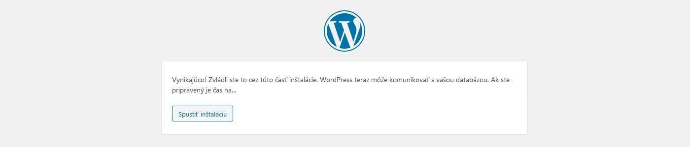 Správa o úspešnom pripojení WordPress databázy