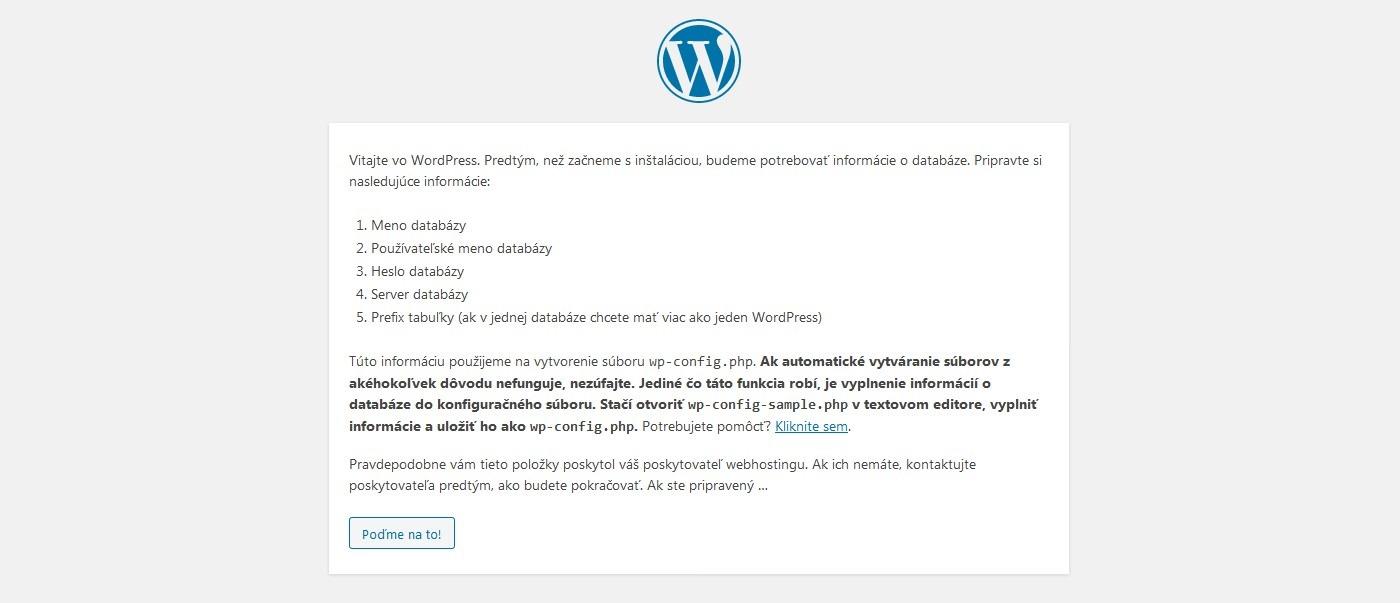 Uvítacia obrazovka inštalácie WordPress