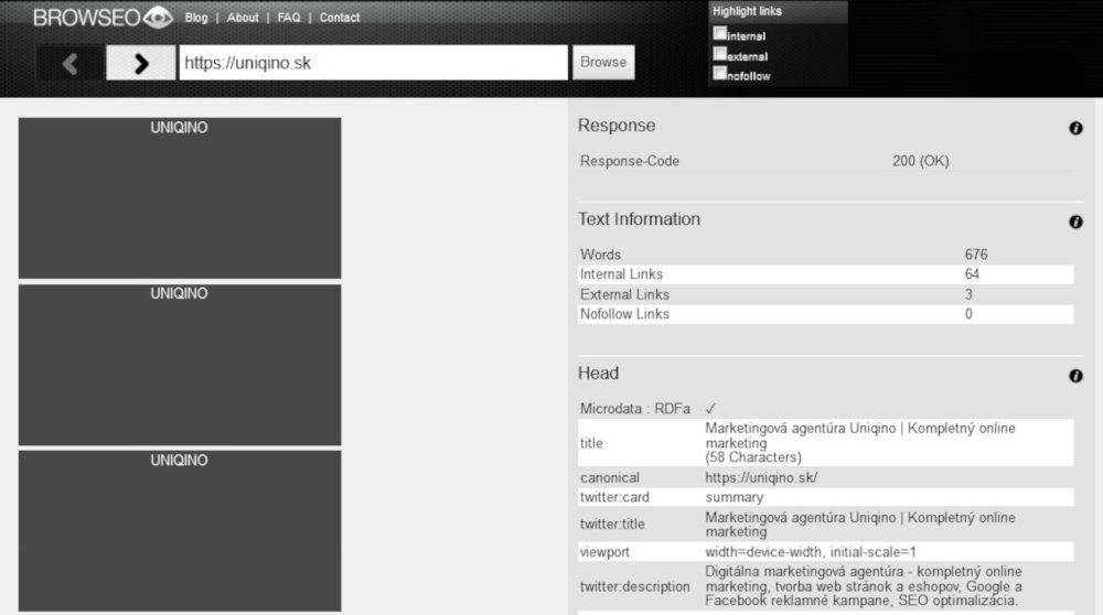 Bezplatný SEO nástroj Browseo | UNIQINO blog