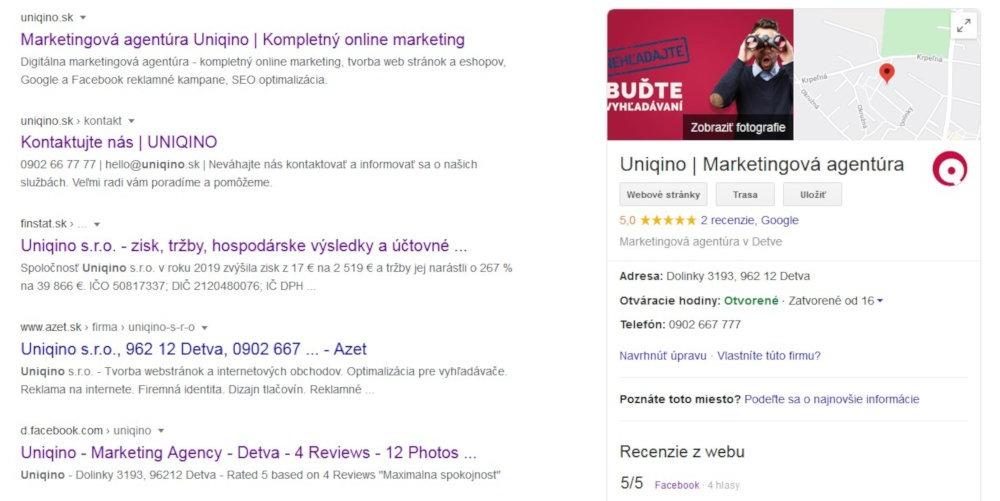 Bezplatný SEO nástroj Google My Business | UNIQINO blog