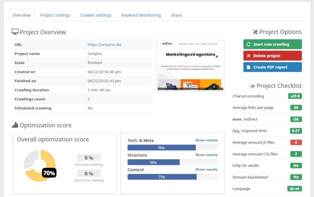 Bezplatný SEO nástroj Seobility | UNIQINO blog