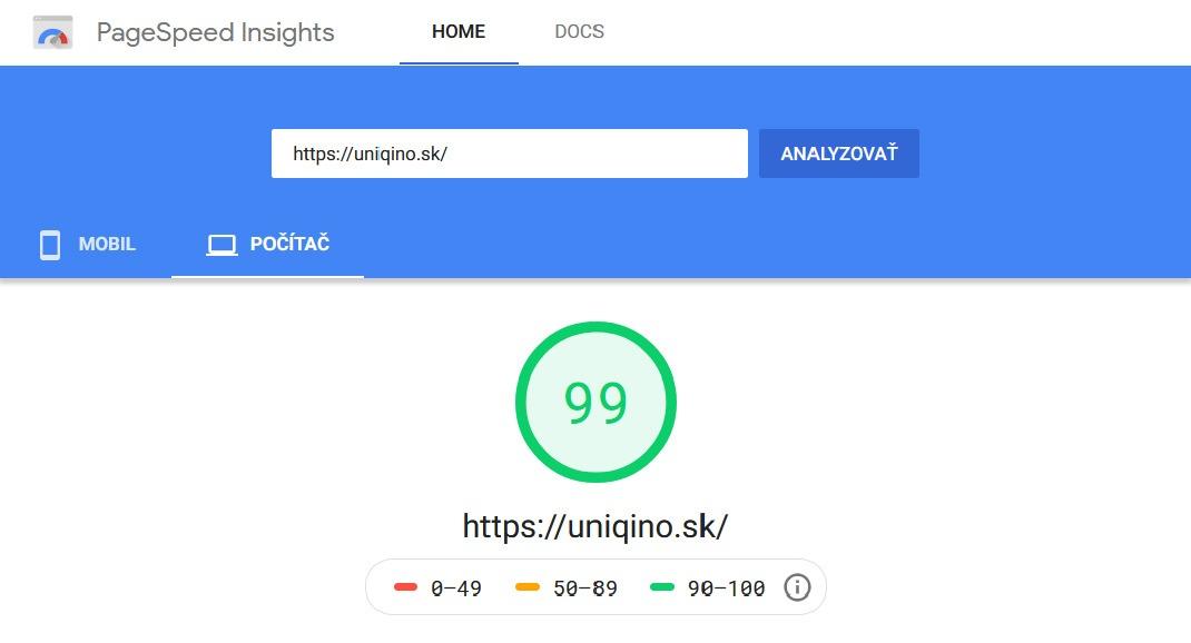Rýchlosť načítania web stránky uniqino.sk v nástroji PageSpeed Insights