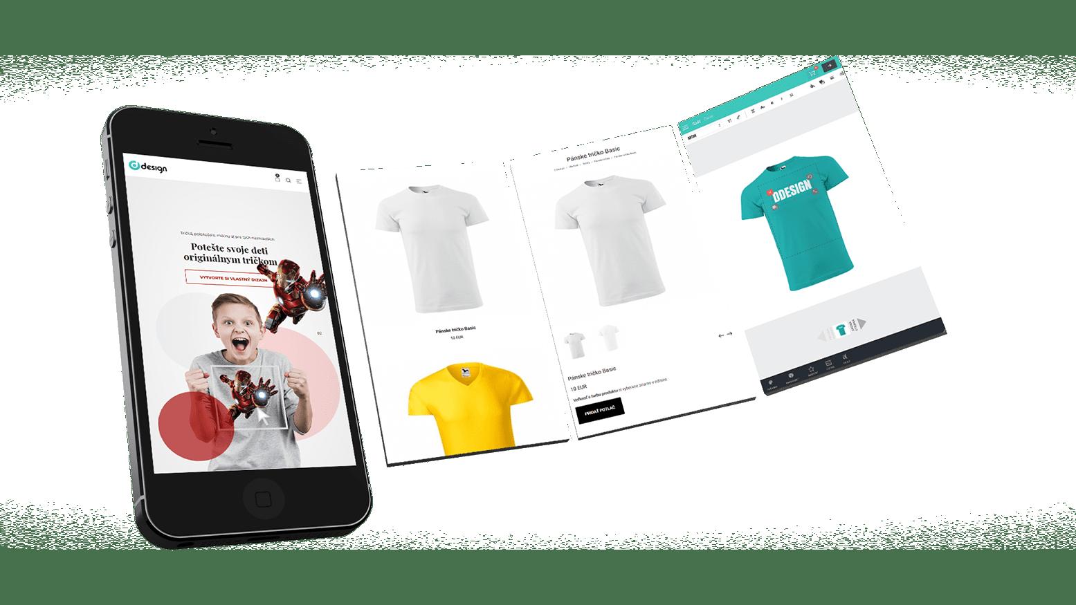 Náhľad respoznívneho internetového obchodu ddesign.sk s editorom potlače na textil