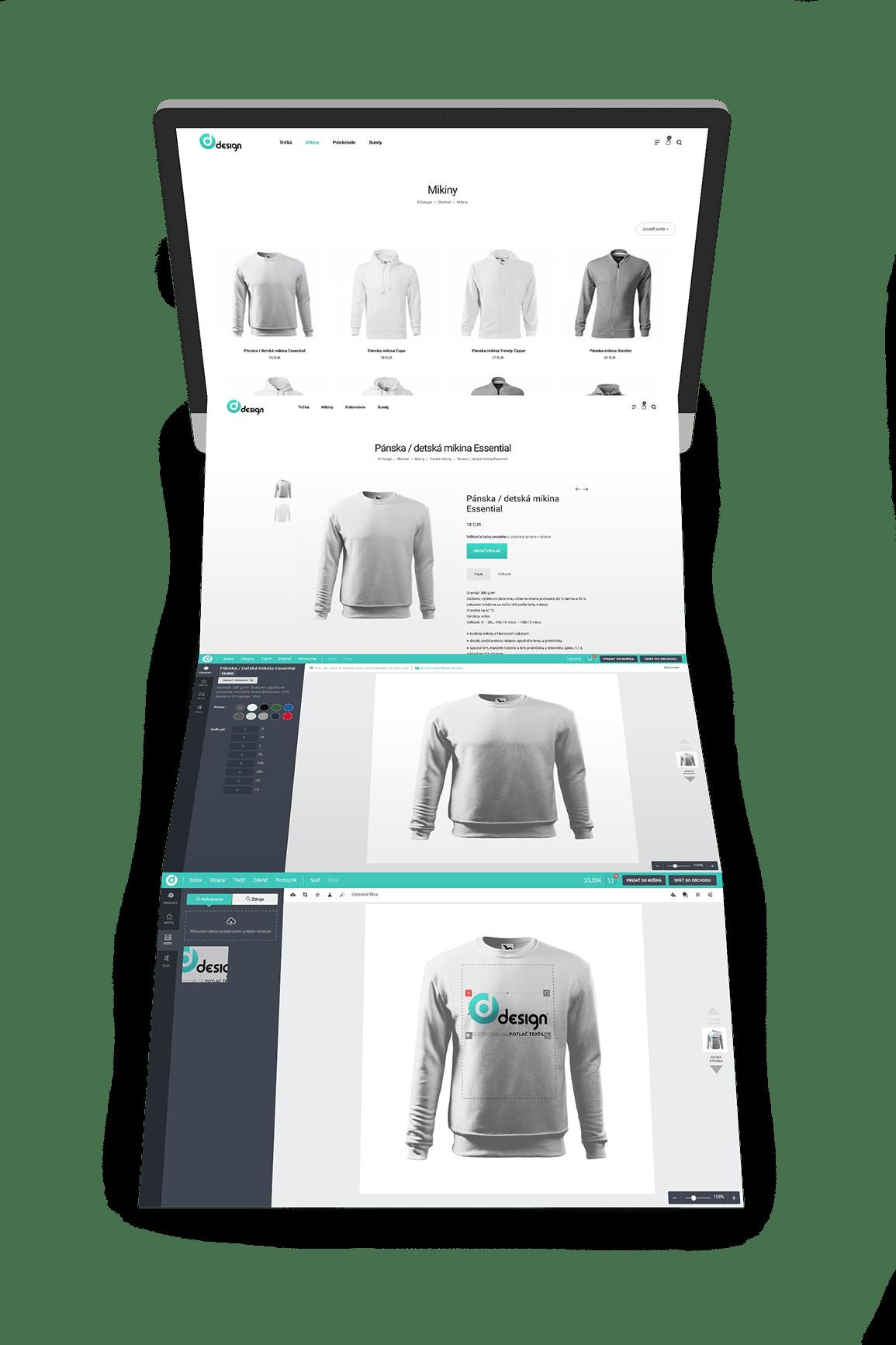 Náhľad internetového obchodu ddesign.sk s editorom potlače na textil