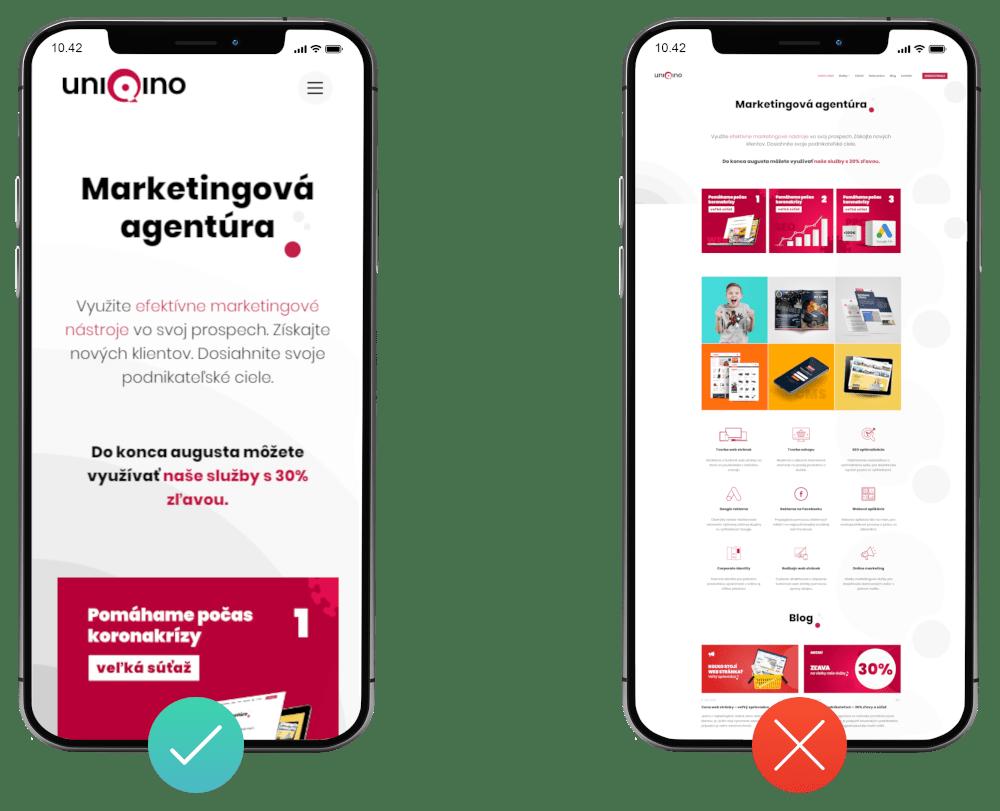 Responzívny vs neresponzívny dizajn web stránky | Marketingová agentúra UNIQINO